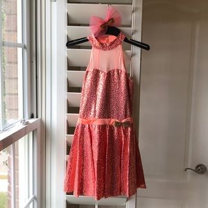 Coral Chorus Girl Costume with Hair Bow